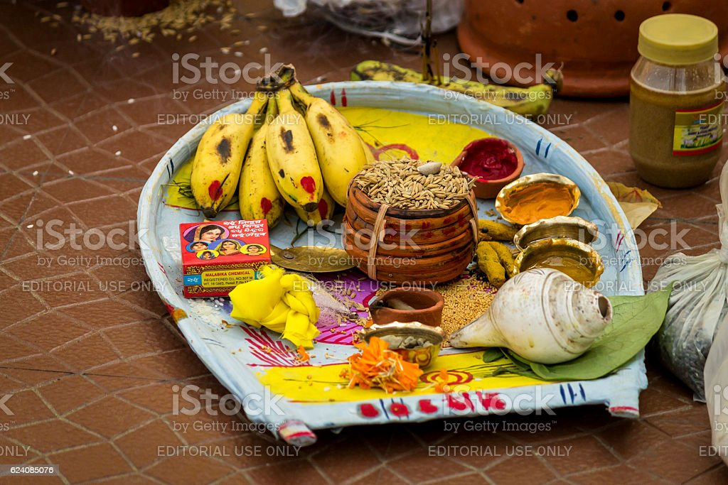 Plate containing sacred items for puja (prayers) stock photo