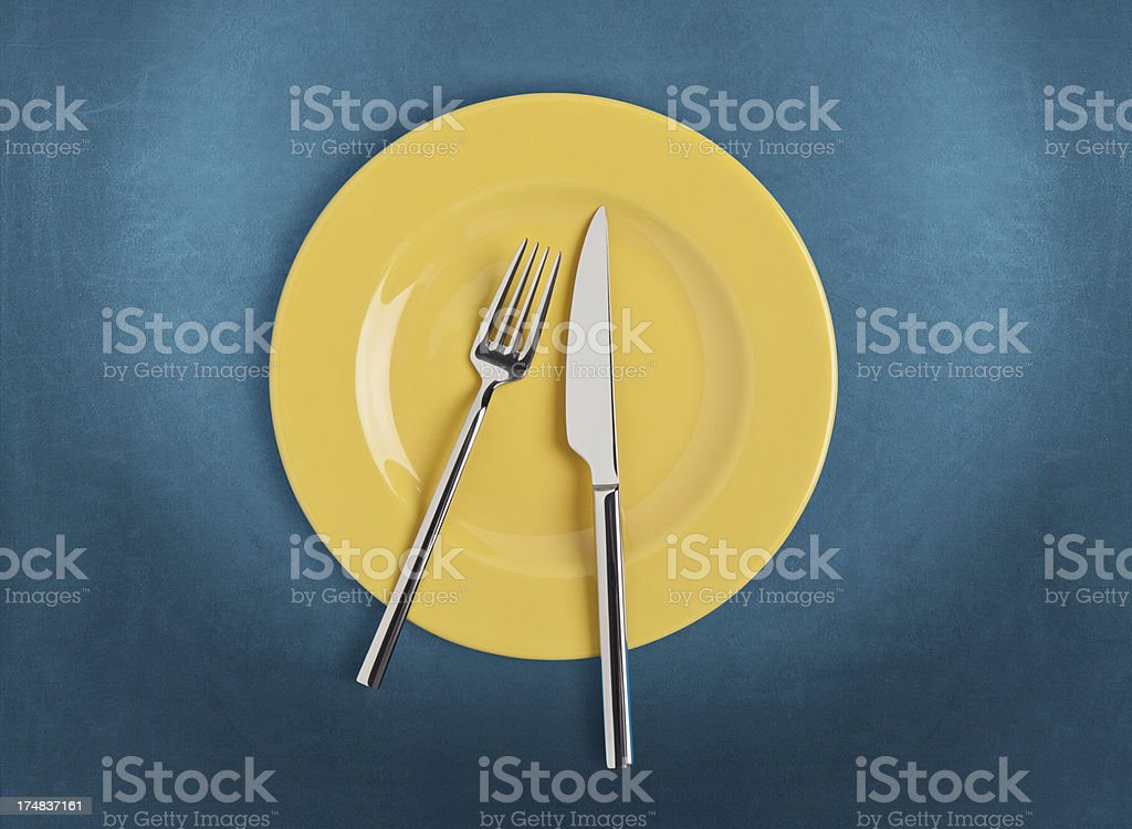 Plate, fork and Table knife royalty-free stock photo