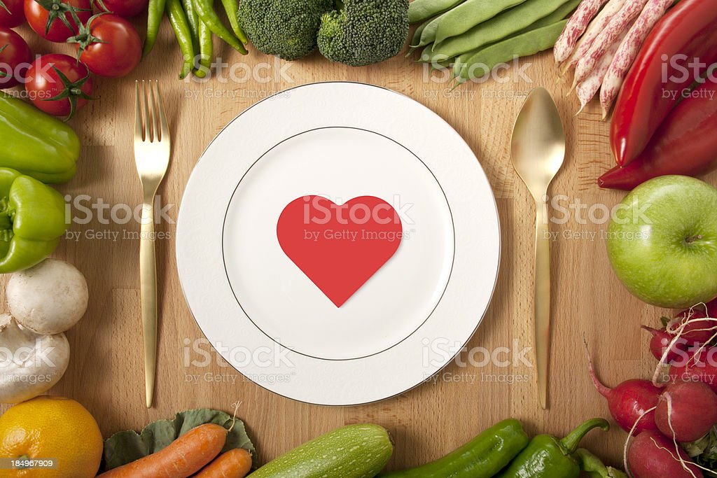plate, fork, knife and red heart royalty-free stock photo