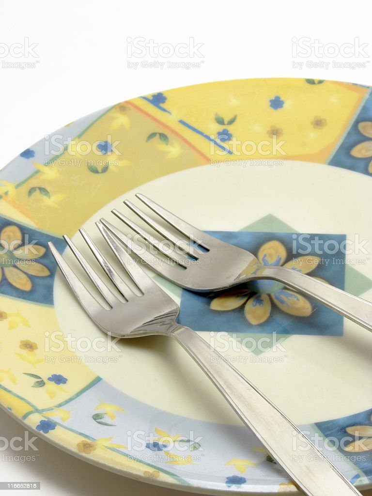 Plate & Forks royalty-free stock photo