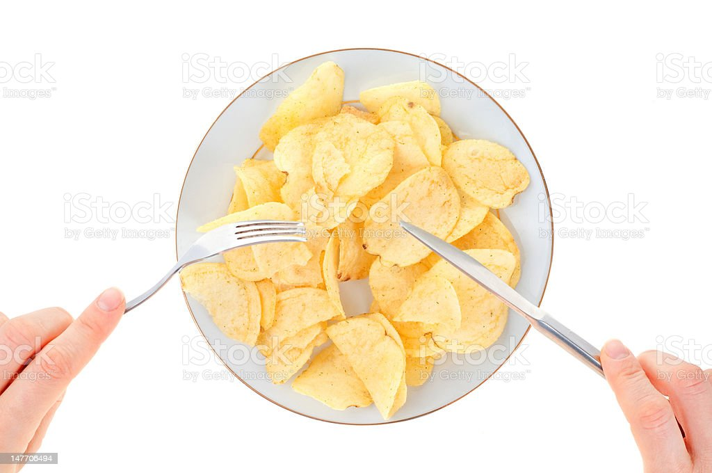 Plate full of chips royalty-free stock photo