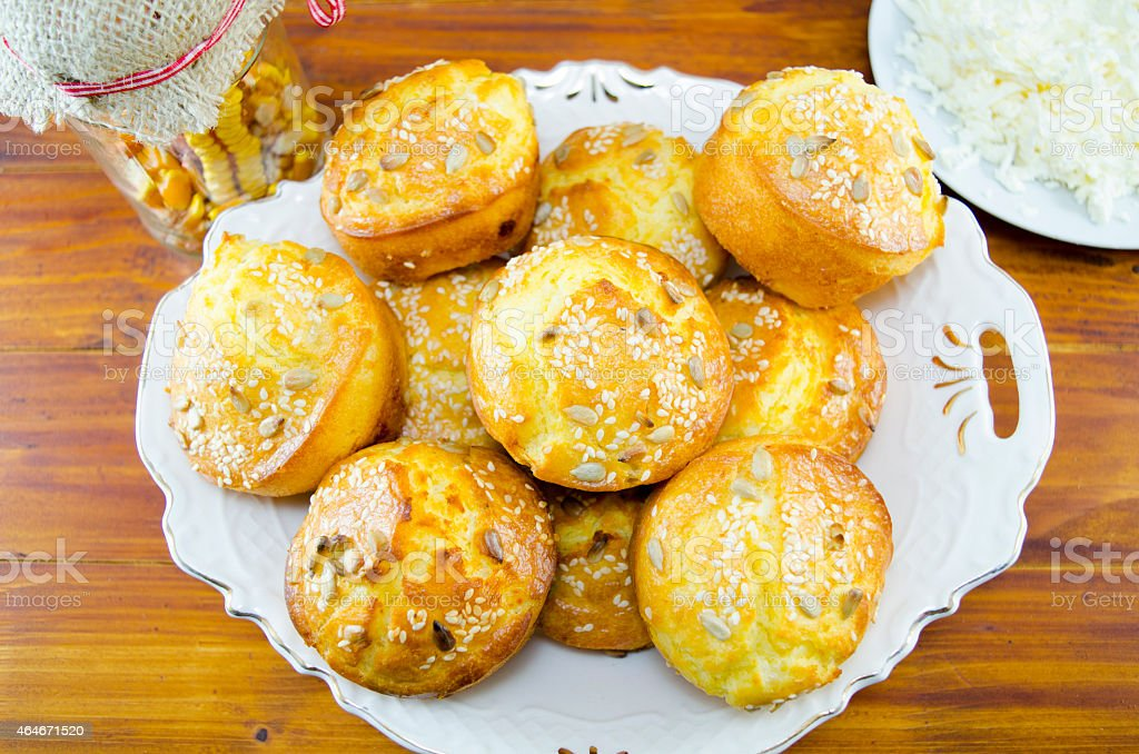 Plate full of corn bread muffins on a table royalty-free stock photo