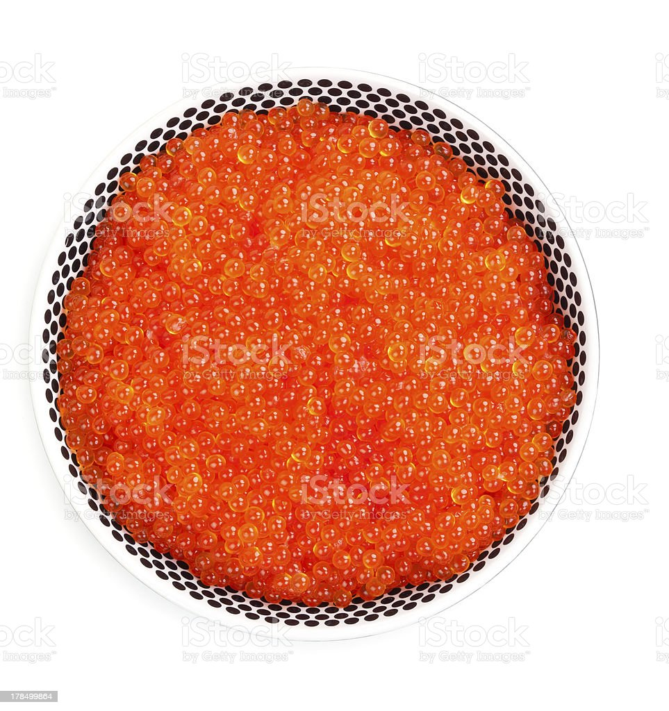 plate full of fresh red caviar royalty-free stock photo