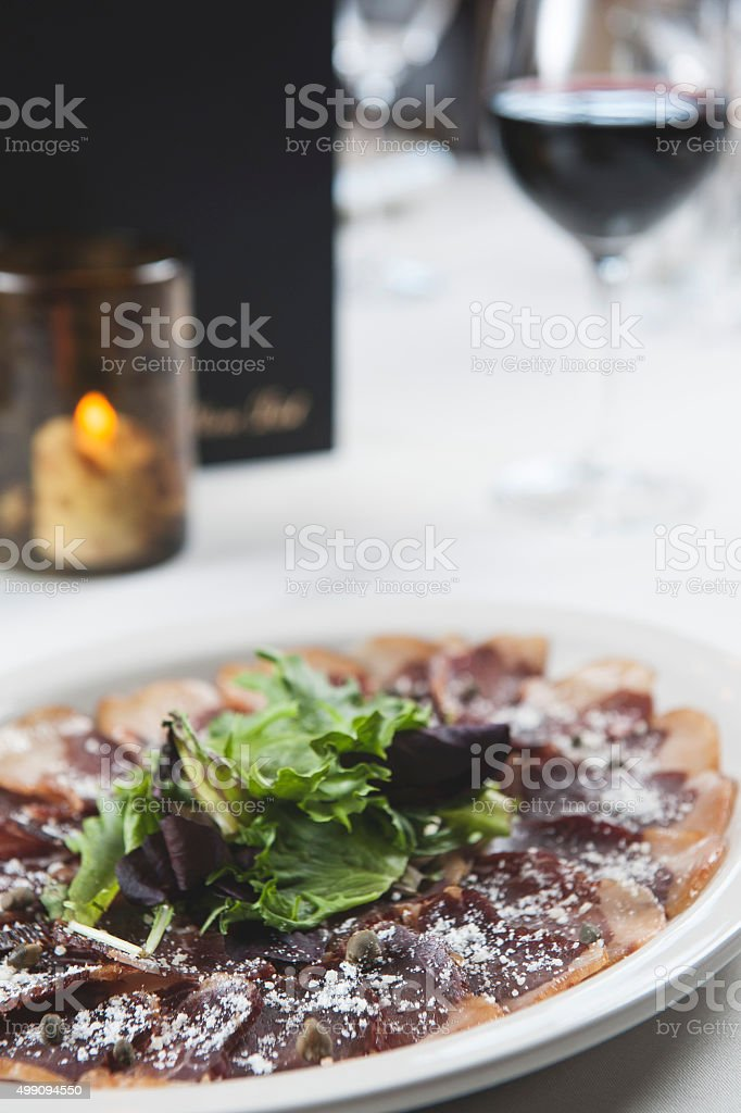 Plate / ham and wine (Click for more) stock photo