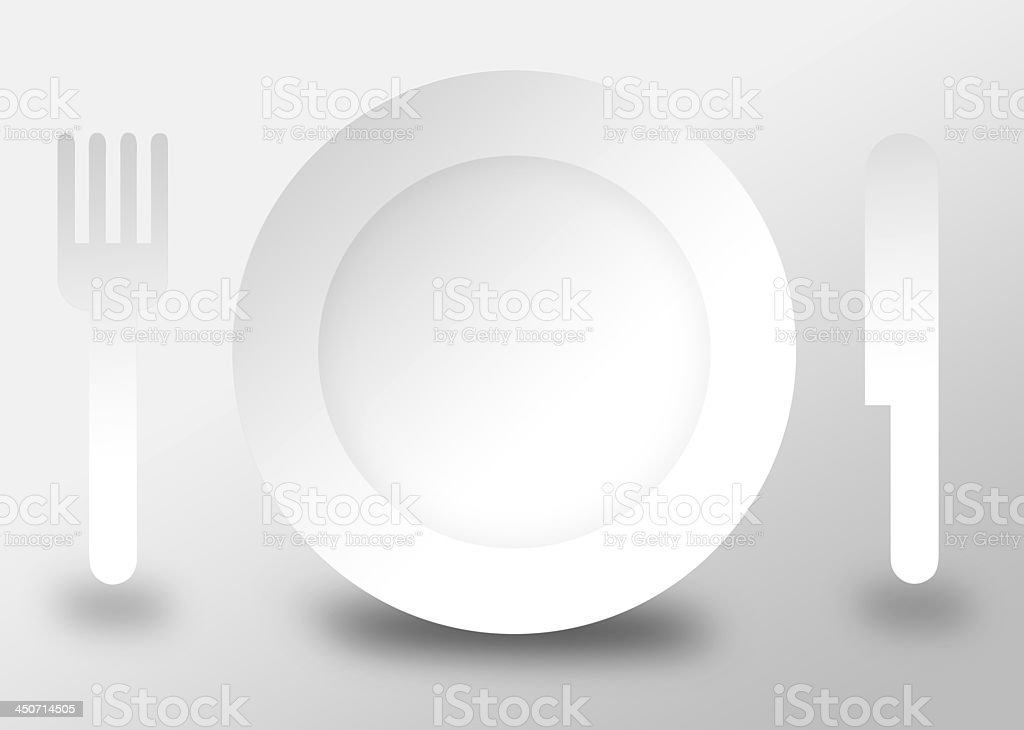 Plate knife and fork 3d illustration flat design royalty-free stock photo