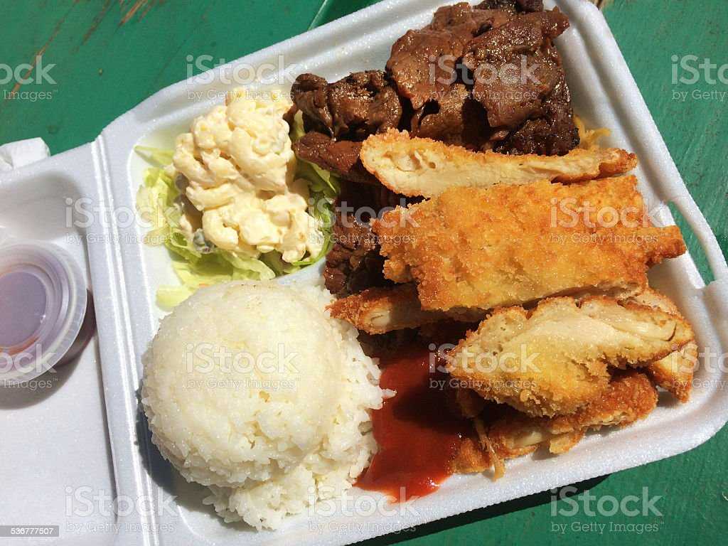 Plate Lunch Takeout Fastfood Specialty of the Hawaiian Islands stock photo