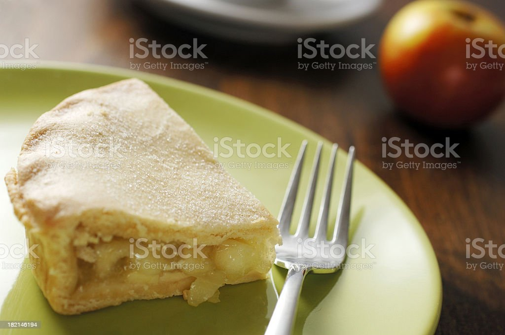 plate of apple pie on table royalty-free stock photo