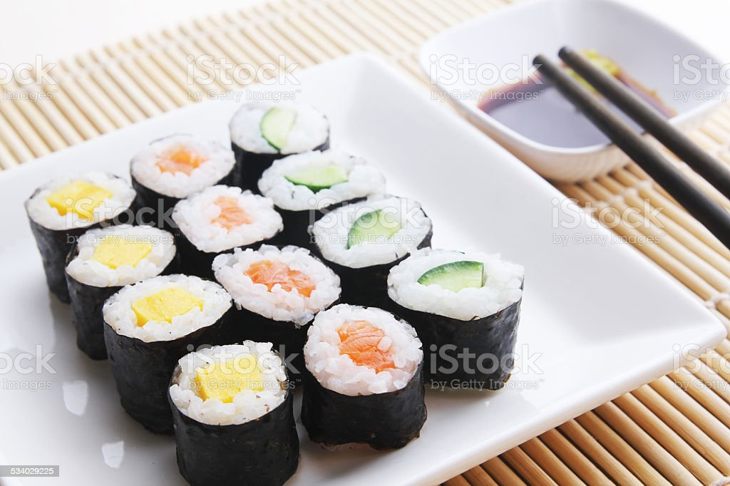 Plate of assorted japanese sushi stock photo