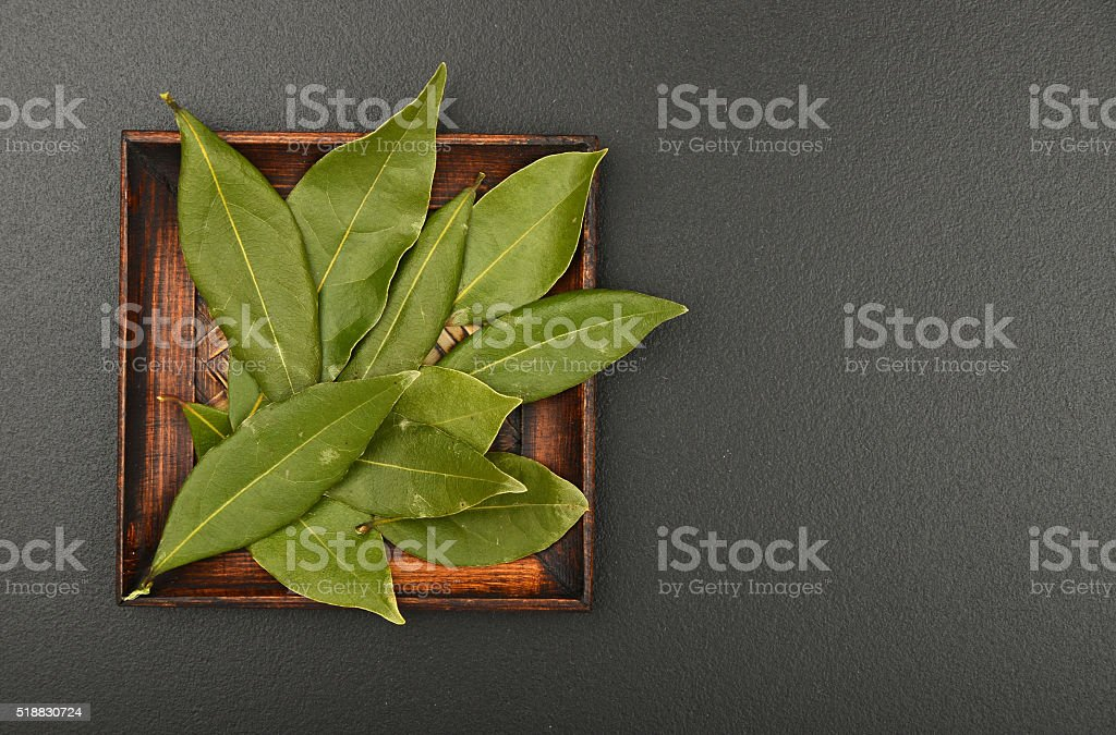 Plate of bay leaves on black chalkboard royalty-free stock photo