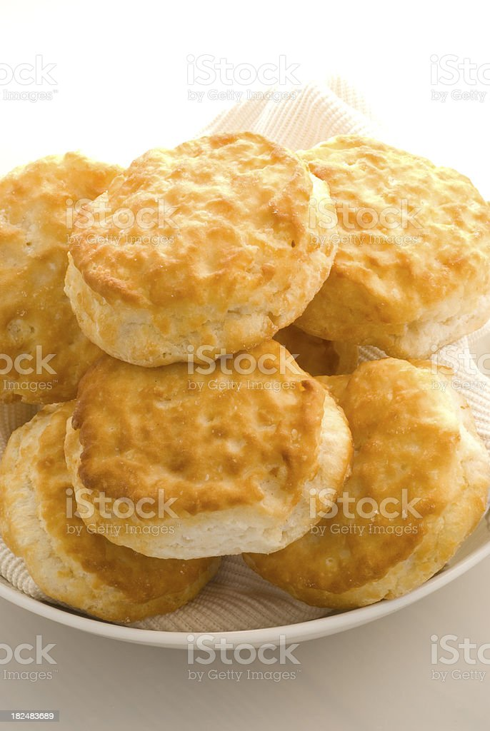 Plate of Biscuit on High Key background stock photo