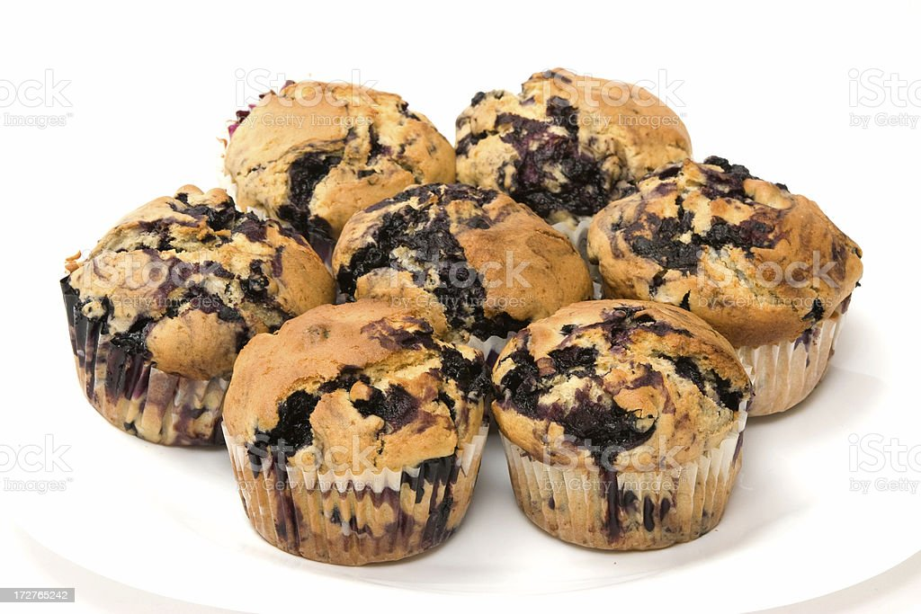 Plate of Blueberry Muffins royalty-free stock photo