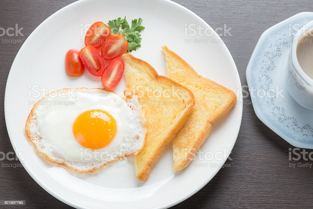 Plate of breakfast with fried eggs and bread stock photo