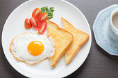 Plate of breakfast with fried eggs and bread