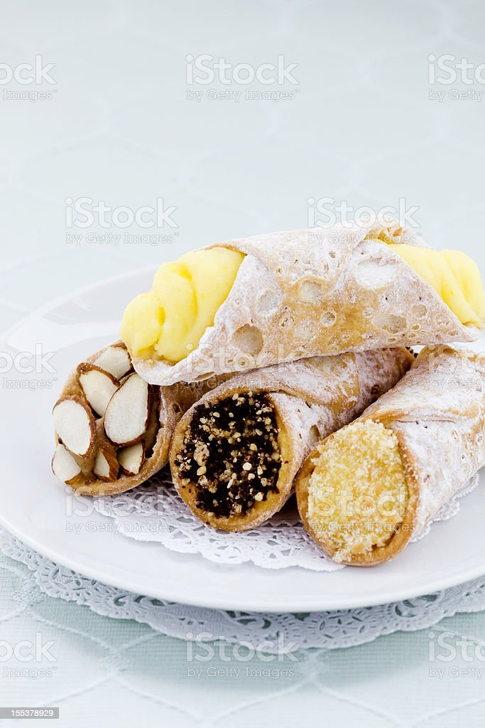 Plate of Cannolis stock photo