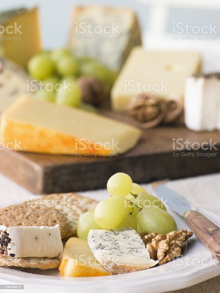 Plate of Cheese and Biscuits with Board stock photo