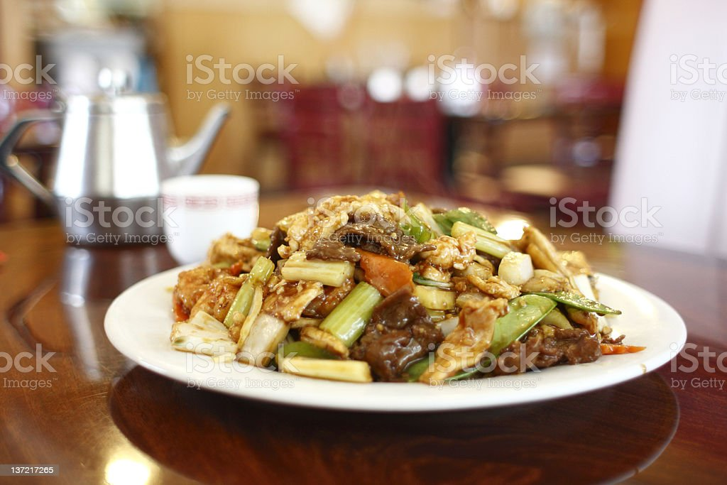 Plate of Chinese chow mein royalty-free stock photo