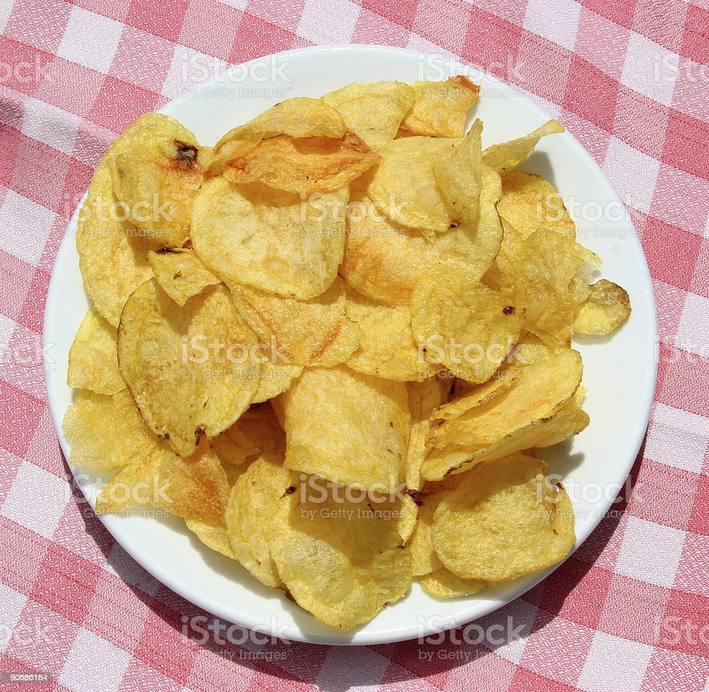plate of chips stock photo
