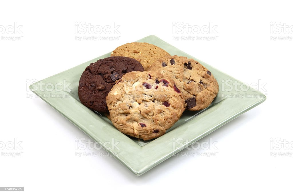 Plate of Chocolate Chip Cookies Isolated on White stock photo
