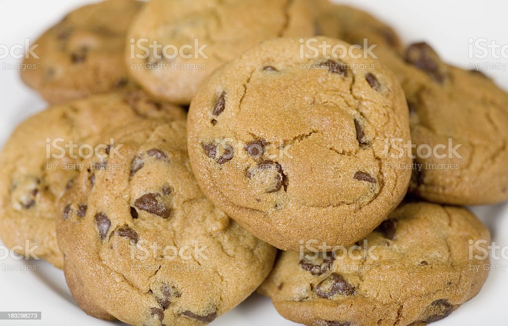 Plate of Chocolate Chip Cookies royalty-free stock photo