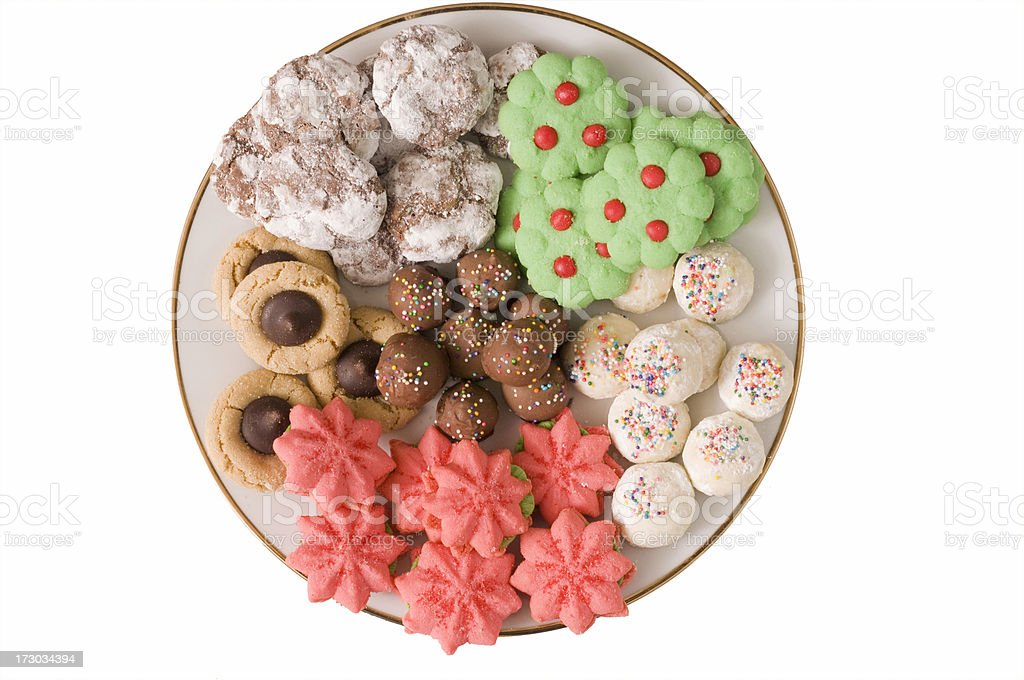 plate of Christmas cookies stock photo