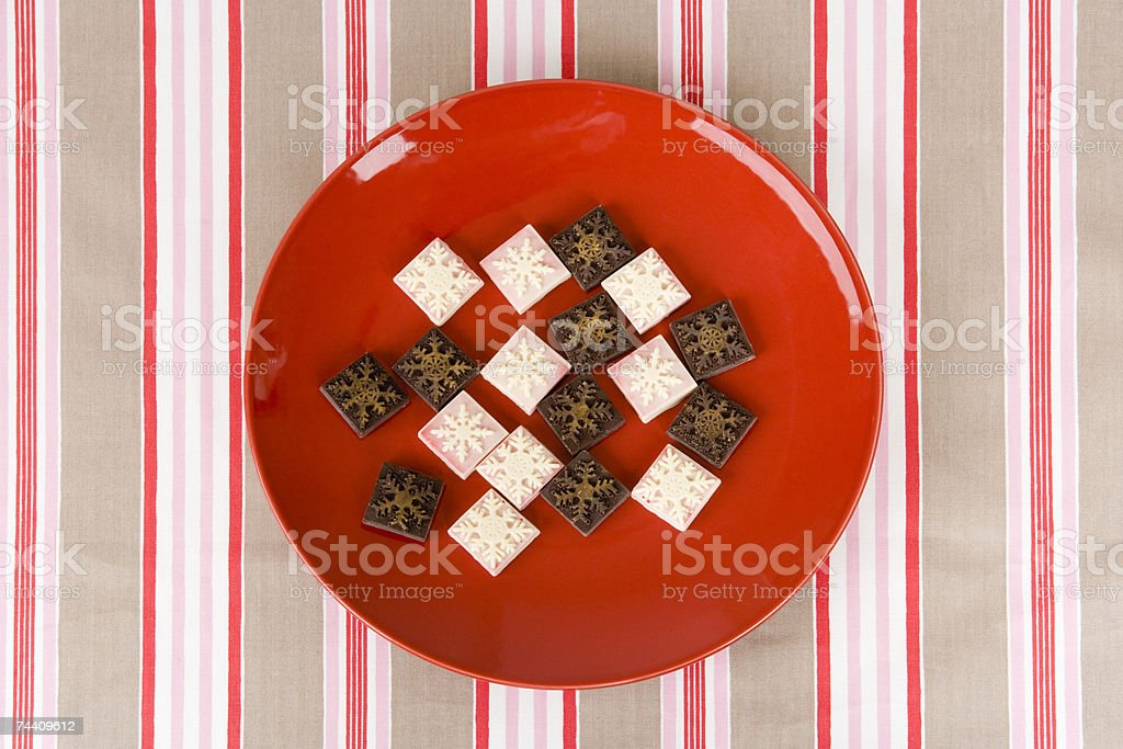 Plate of christmas sweets stock photo