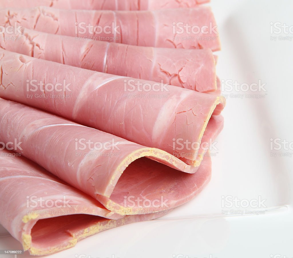 Plate of Cold Ham stock photo
