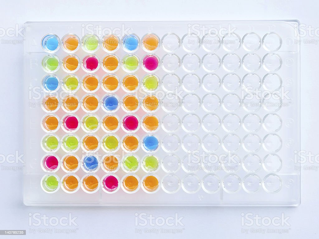 Plate of colorful solution stock photo