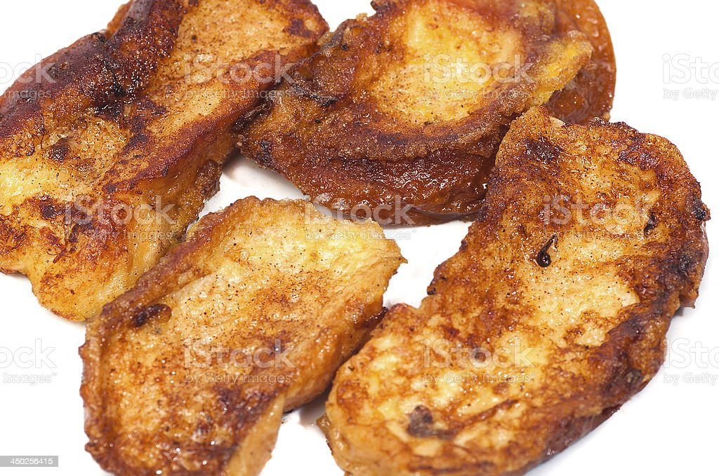 plate of delicious homemade French toast, torrijas stock photo