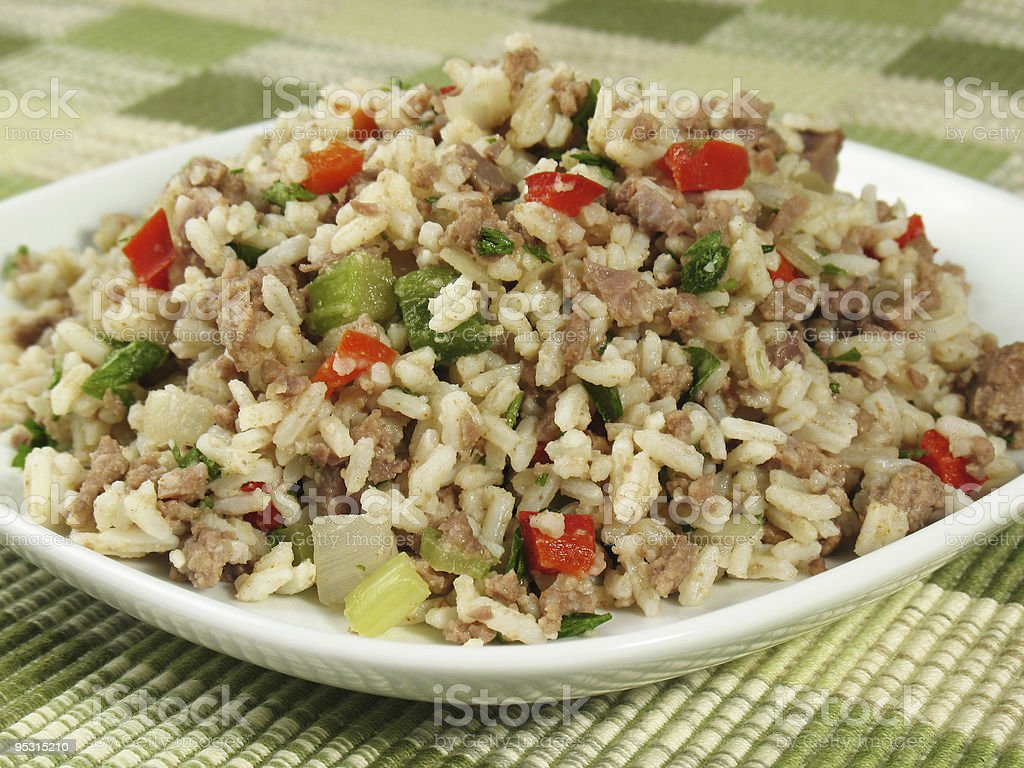 Plate of Dirty Rice royalty-free stock photo