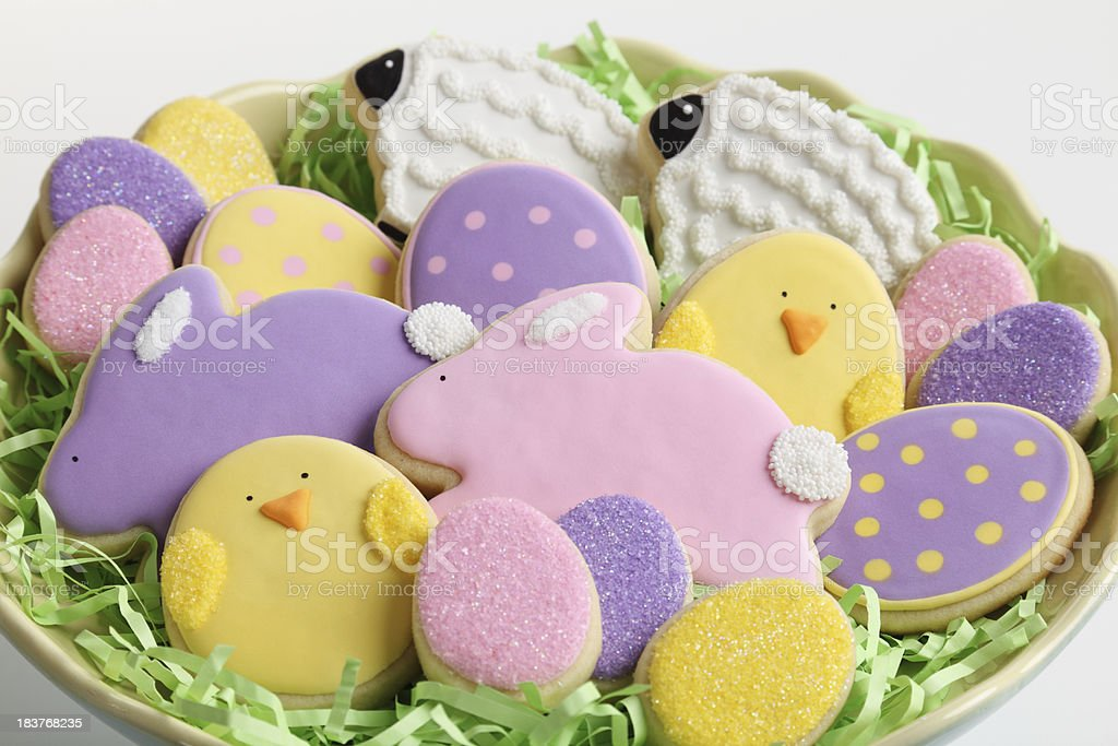 Plate of Easter Cookies stock photo