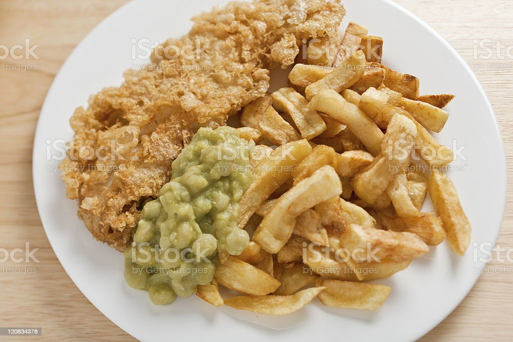 Plate of Fish and Chips stock photo
