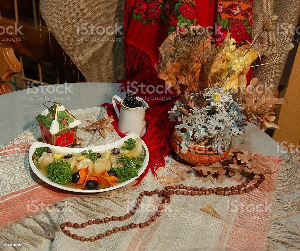 plate of fish decorated with vegetables stock photo