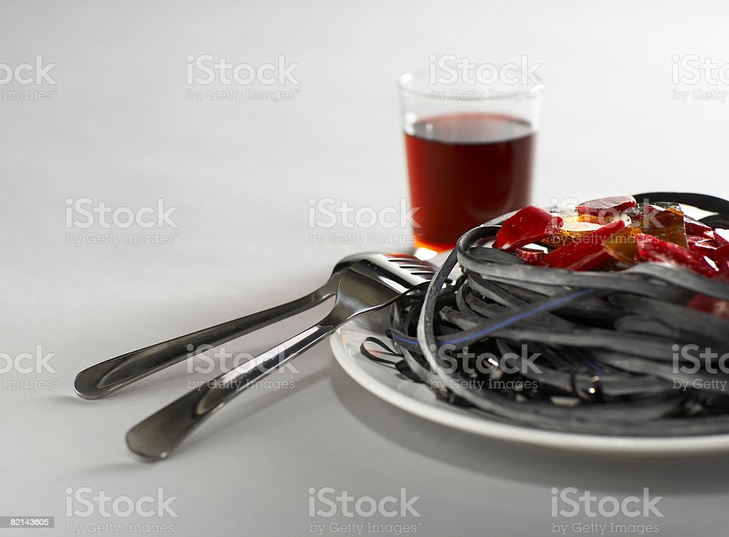 plate of food and drink stock photo