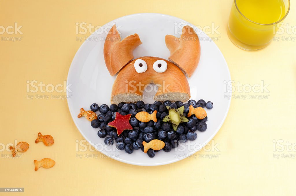 A plate of food arranged to look like the sea stock photo