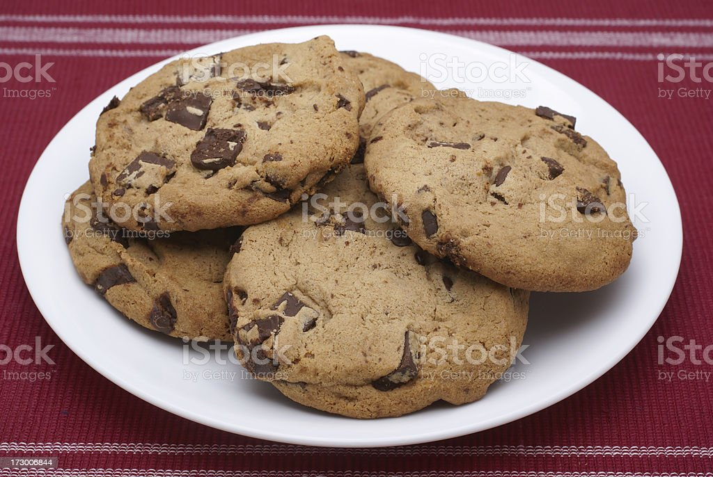 plate of fresh chocolate chip cookies royalty-free stock photo