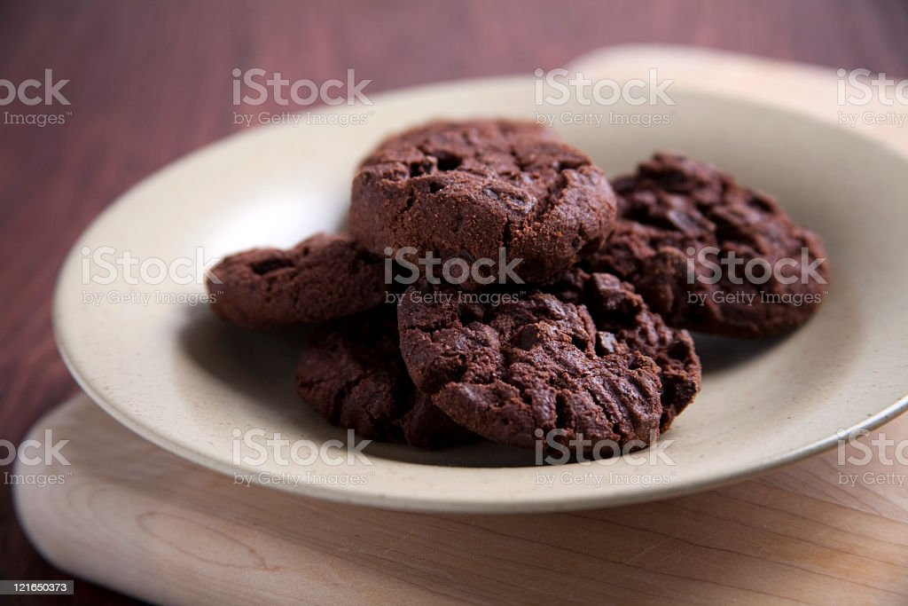Plate of fresh double chocolate cookies royalty-free stock photo