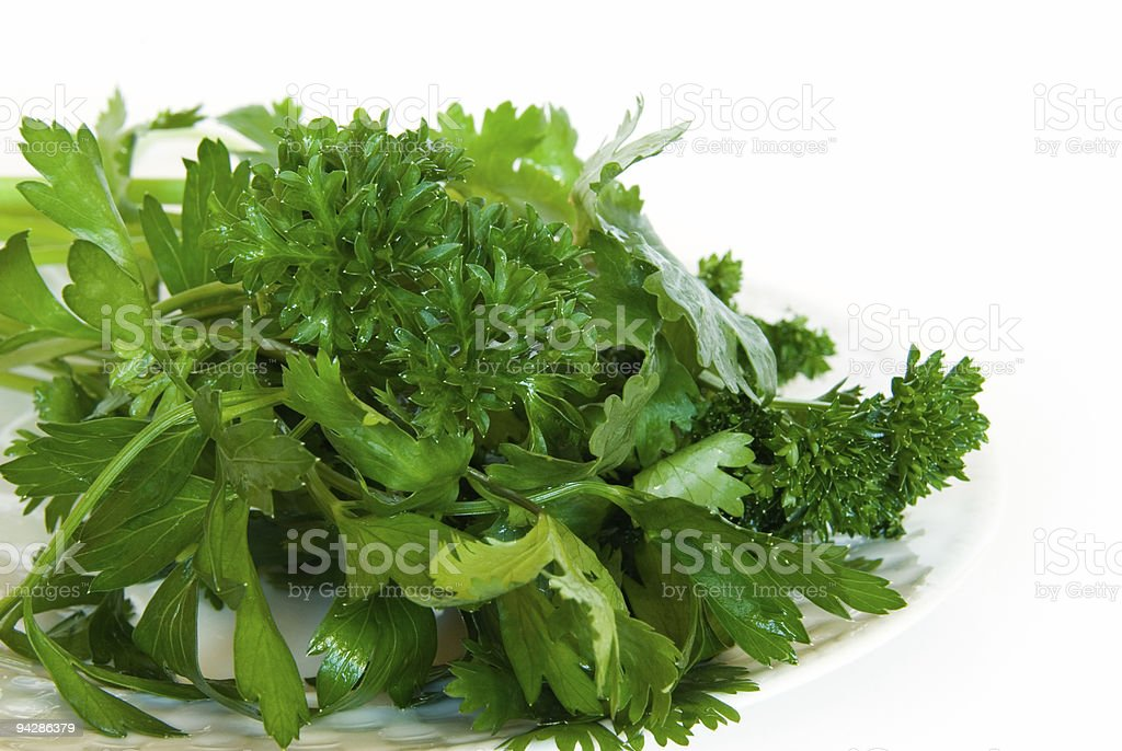 Plate of fresh herbs isolated on white royalty-free stock photo