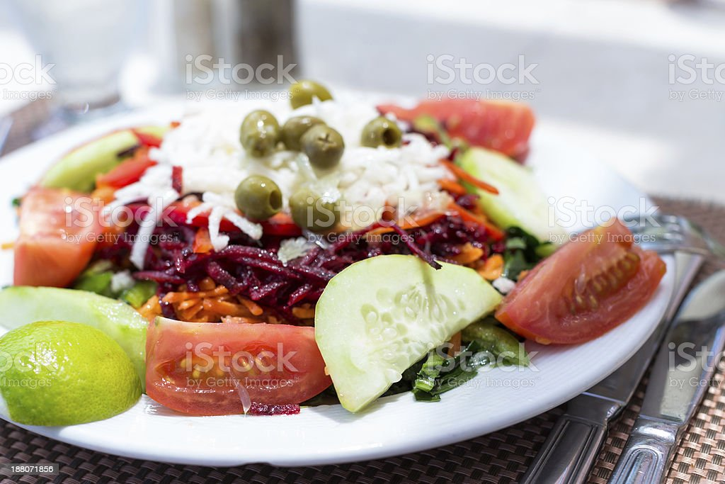 Plate of fresh mixed salads stock photo