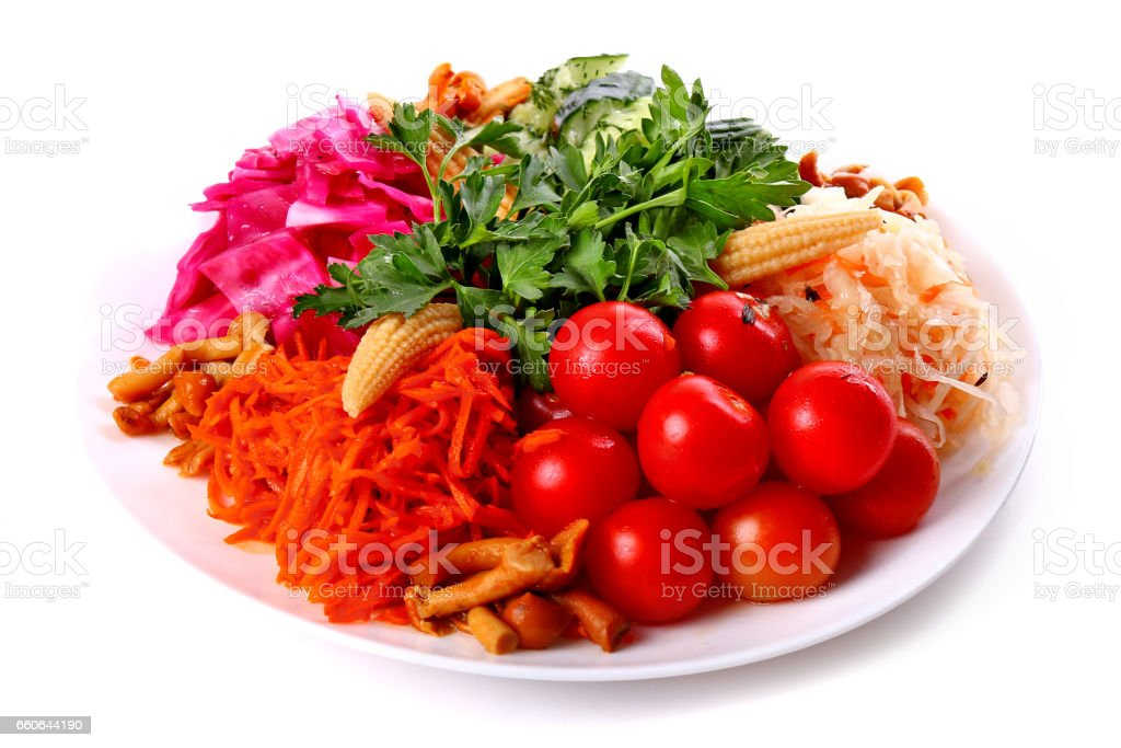 Plate of fresh vegetables stock photo