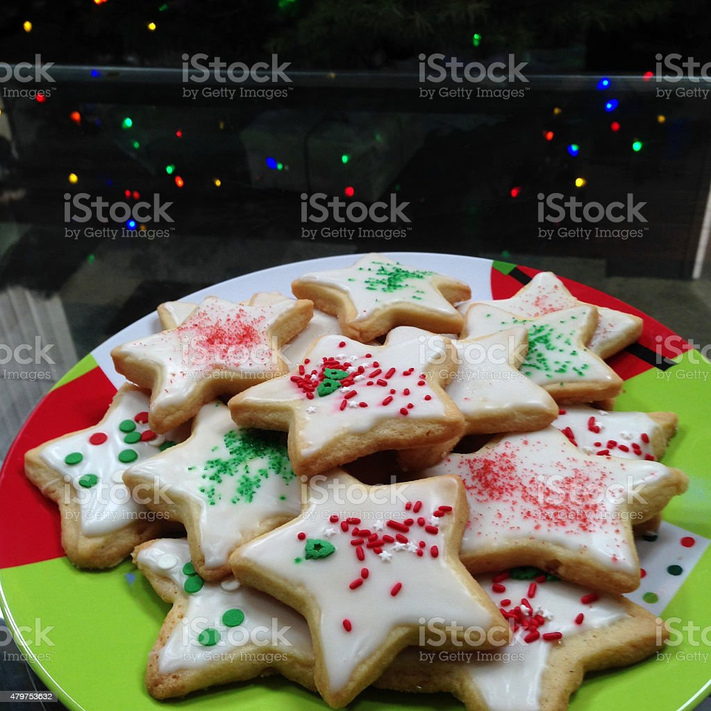 Plate of Frosted Sugar Cookies royalty-free stock photo