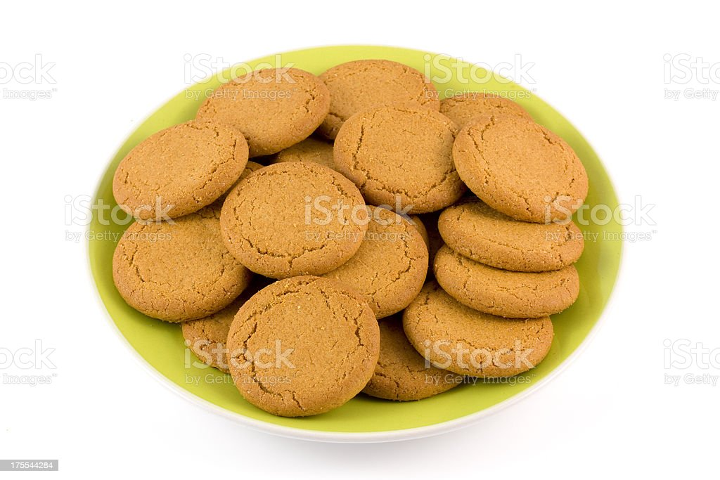 Plate of ginger biscuits stock photo