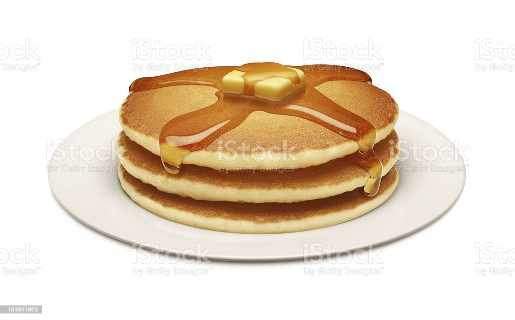 Plate of Golden Pancakes and Syrup stock photo