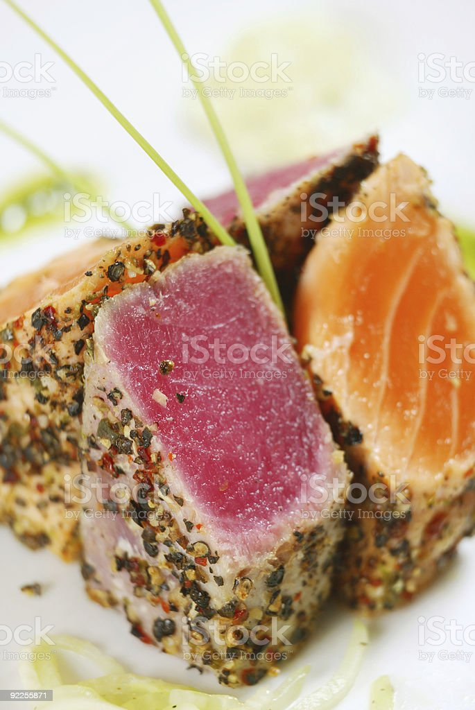 Plate of grilled tuna fish and salmon royalty-free stock photo