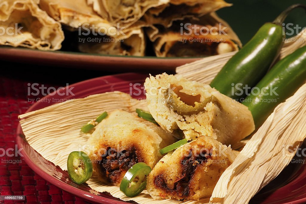 Plate of homemade tamales stock photo