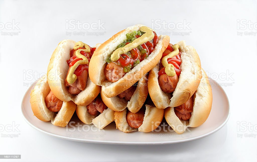 Plate Of Hotdogs stock photo