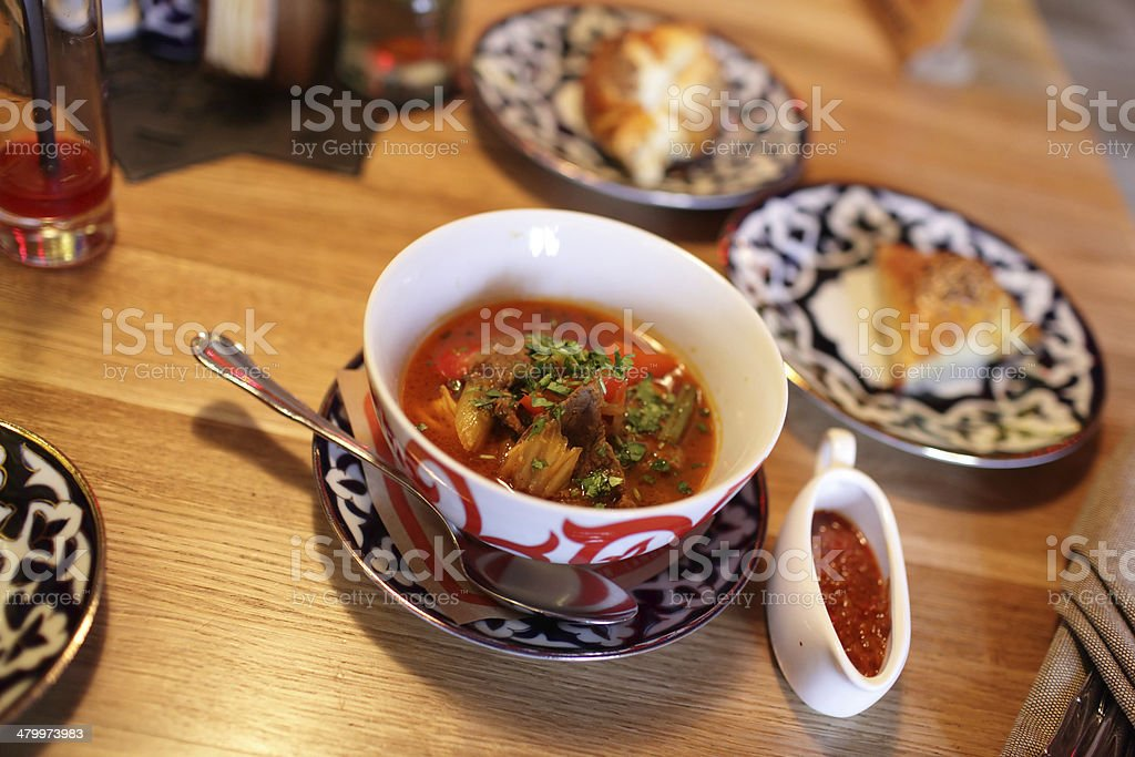 Plate of laghman stock photo