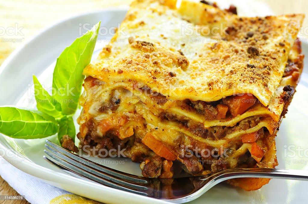 Plate of lasagna stock photo