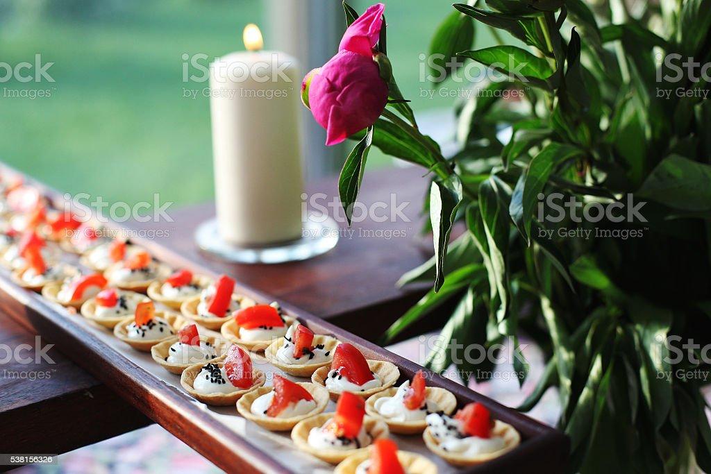 Plate of mini tarts stock photo
