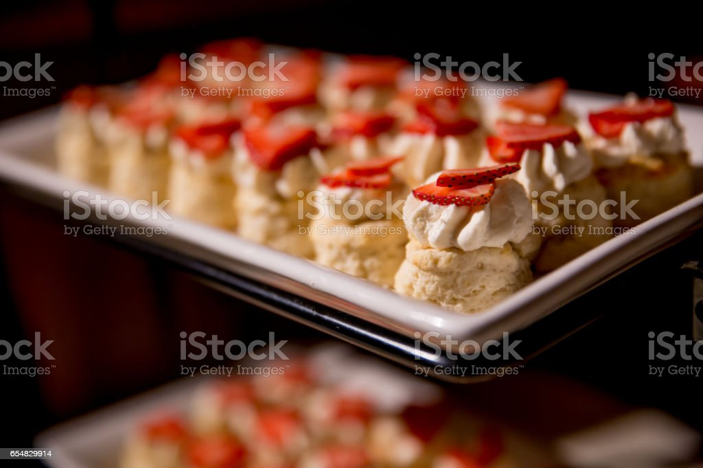 A Plate of Miniature Strawberry Shortcakes stock photo