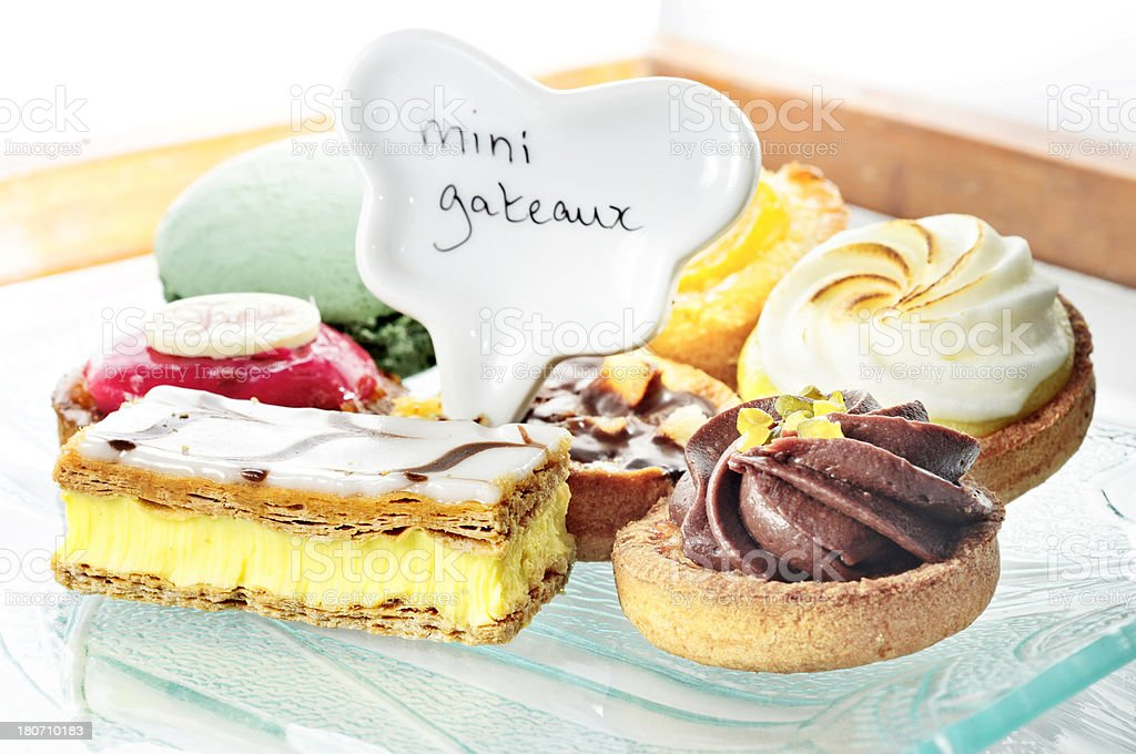 Plate of mini-cakes royalty-free stock photo